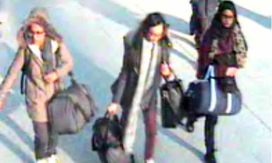 CCTV issued by the Metropolitan police of (left to right) 15-year-old Amira Abase, Kadiza Sultana, 16, and Shamima Begum before they caught a flight to Turkey in 2015 to join Islamic State.