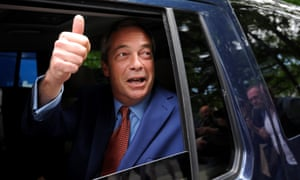Nigel Farage leaves a central London TV studio after his side won the EU referendum vote on Friday morning.