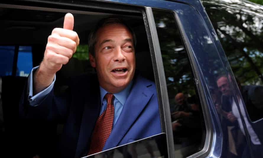 Nigel Farage leaves a central London TV studio after his side won the EU referendum vote on Friday morning.