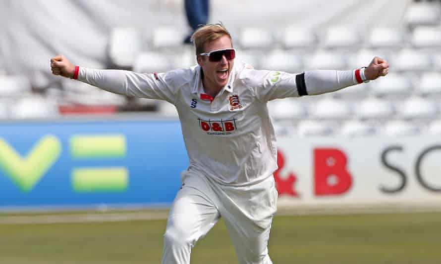 Simon Harmer took 10 wickets for Essex as they beat Durham.