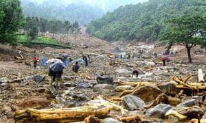 Debris left by a landslide in Kerala