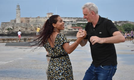 'It felt magical, participating in a great tradition' ... Kester Aspden with his dance teacher, Daines Mariño, in Havana.