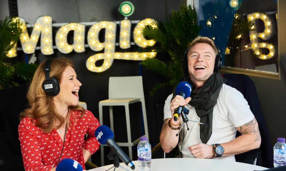 Magic Radio's Ronan Keating and Harriet Scott presenting the breakfast show.