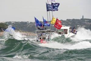 Boat amid large waves