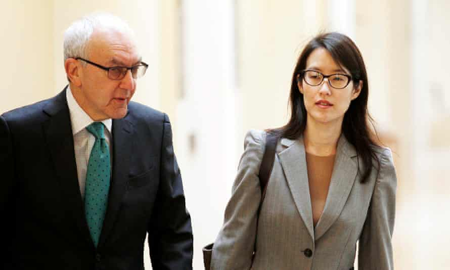 Ellen Pao and her attorney Alan Axelrod walk to their courtroom before the start of her trial in February 2015. Paoi was seeking $16m for discrimination by her employer, Silicon Valley VC firm Kleiner Perkins Caufield & Byers