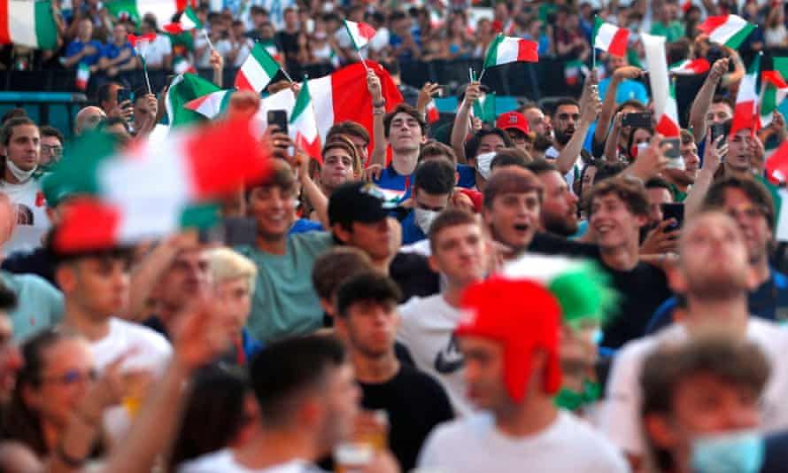 Italy fans gather in Rome to watch Tuesday's semi-final against Spain