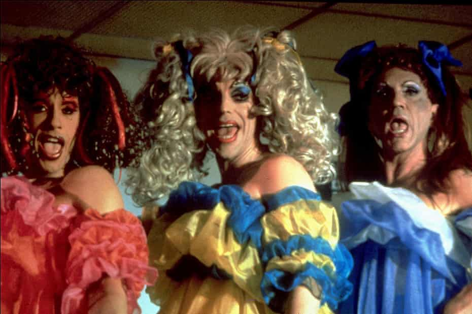 Pearce, left, with Hugo Weaving and Terence Stamp in 1994 The Adventures of Priscilla, Queen of the Desert.