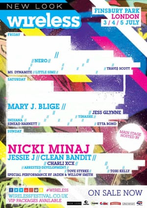 Wireless Festival poster showing female acts