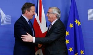 Jean-Claude Juncker meets with David Cameron in Brussels.