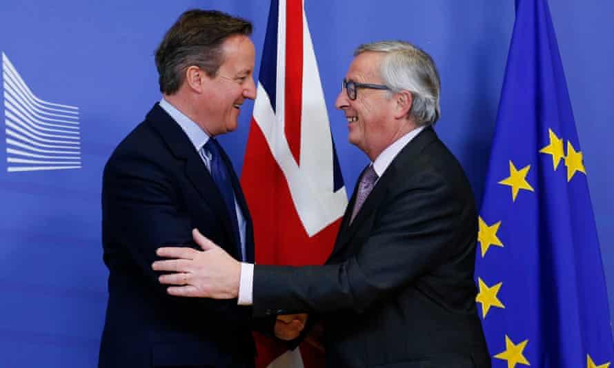 David Cameron meets European commission president Jean-Claude Juncker in Brussels.