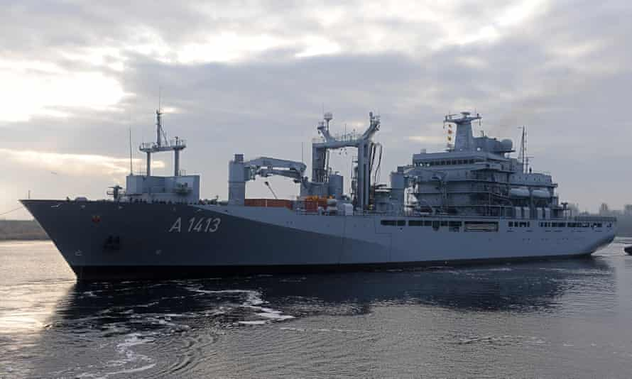 The German supply ship Bonn, which will lead the Nato flotilla heading for the Aegean Sea to help intercept the smuggling of migrants between Turkey and Greece.