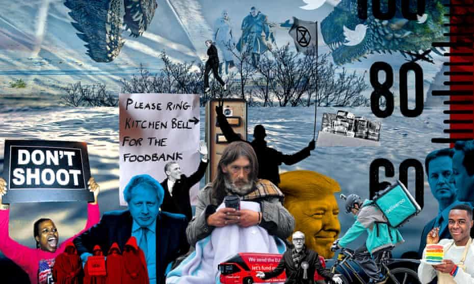 montage: black lives matter, boris johnson, donald trump, homelessness, extinction rebellion, rising tides and temperatures etc etc