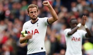 Tottenham's Harry Kane celebrates after the match.
