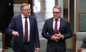 The opposition leader, Anthony Albanese, with Joel Fitzgibbon