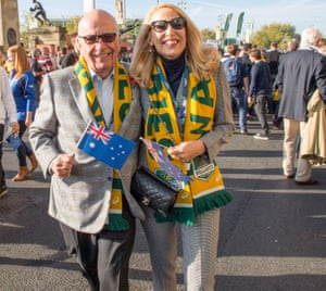 Rupert Murdoch and Jerry Hall attend the Rugby World Cup final at Twickenham.