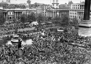 Huge crowds at Trafalgar Square celebrate VE Day, 8 May 1945.