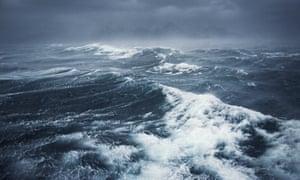 Hurricane storm clouds over ocean
