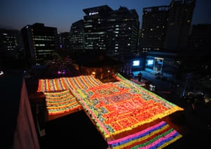 Seoul, South Korea Lanterns light up Jogye temple in downtown Seoul, part of the Buddha's birthday celebration that falls on 30 April this year. The temple is the main office of the Jogye Order, the largest Buddhist sect in South Korea