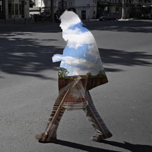 From the project Street Memories by Nacho Ormaechea who creates beautiful digital collages by filling silhouettes of people photographed on the street with visually contradicting images.