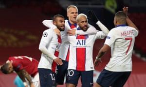Neymar celebrates scoring PSG's third goal at Old Trafford.
