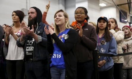 Supporters cheer Bernie Sanders at a university rally in Chicago this month.