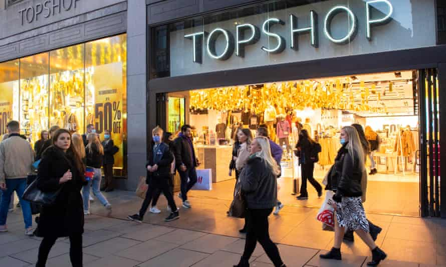 Shoppers outside Arcadia Group's Topshop, Oxford Street.