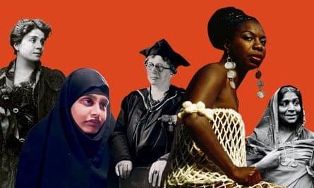 Invitees … from left, Eleonora Duse, Shamima Begum, Lilian Baylis, Nina Simone, Sarojini Naidu.