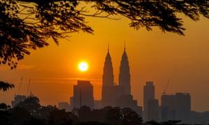 Malaysian landmark Petronas Tower at sunrise
