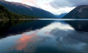Lake Rotoiti and Nelson Lakes national park at sunset