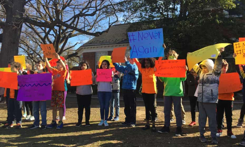 The 14 March walkout at Naomi Wadler's Virginia elementary school to protest for stricter gun laws.