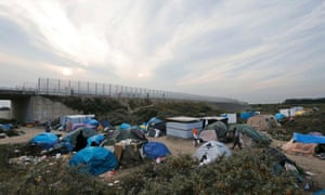 General view of tents in the makeshift camp in Calais, France