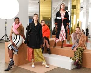 Models at Diane Von Furstenberg presentation at NYFW AW17