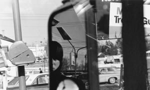 Lee Friedlander <br>Filling station - rear view mirror, Hillcrest, New York, 1970