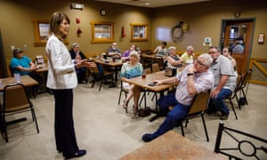 Cindy Axne, a Democratic challenger to Republican Iowa congressman David Young, talks to primary voters on 16 May 16, 2018 in Atlantic, Iowa.