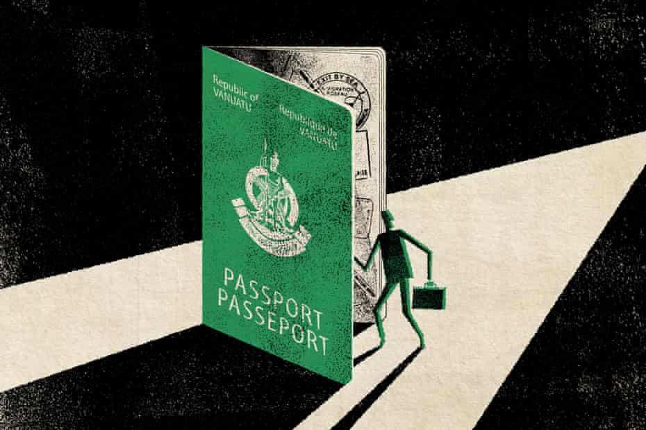 An illustration of a man walking into a giant passport