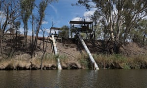 Two of the three water pumps on the Barwon river above Brewarrina that take water to a cotton property.