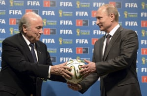 Fifa president Sepp Blatter and Putin during the handover ceremony for the 2018 World Cup