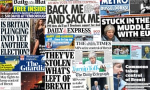 Front pages of the UK papers on 26 March, 2019