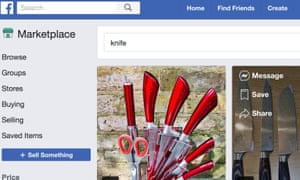 Knives being sold via Facebook without any age check