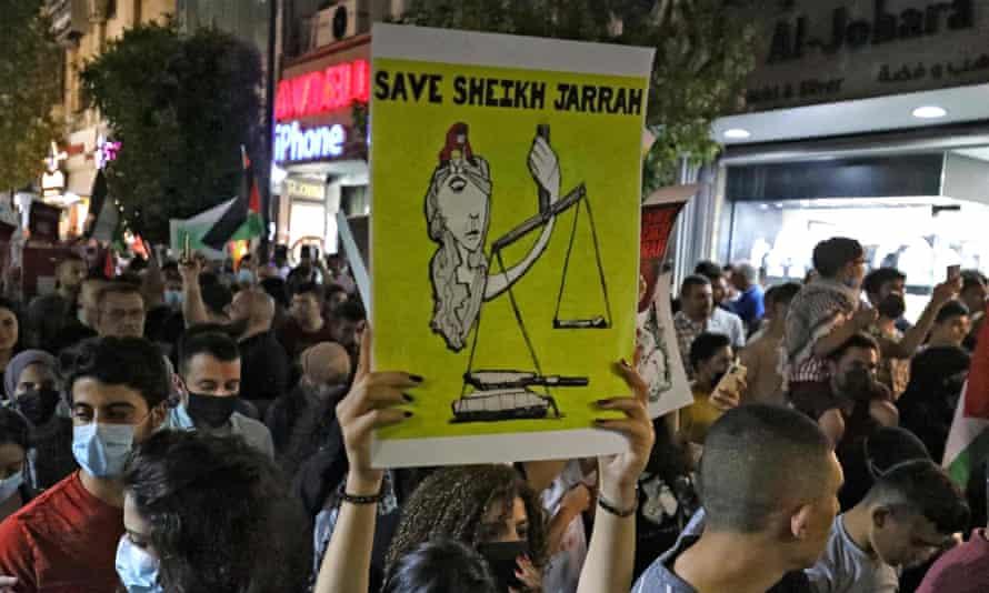 Palestinian protesters in Ramallah, 9 May 2021.