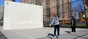Trump Village at Coney Island, Brooklyn. two residents playing tennis