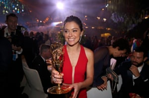 Actress Tatiana Maslany holds her award for Outstanding Lead Actress in a Drama Series for Orphan Black