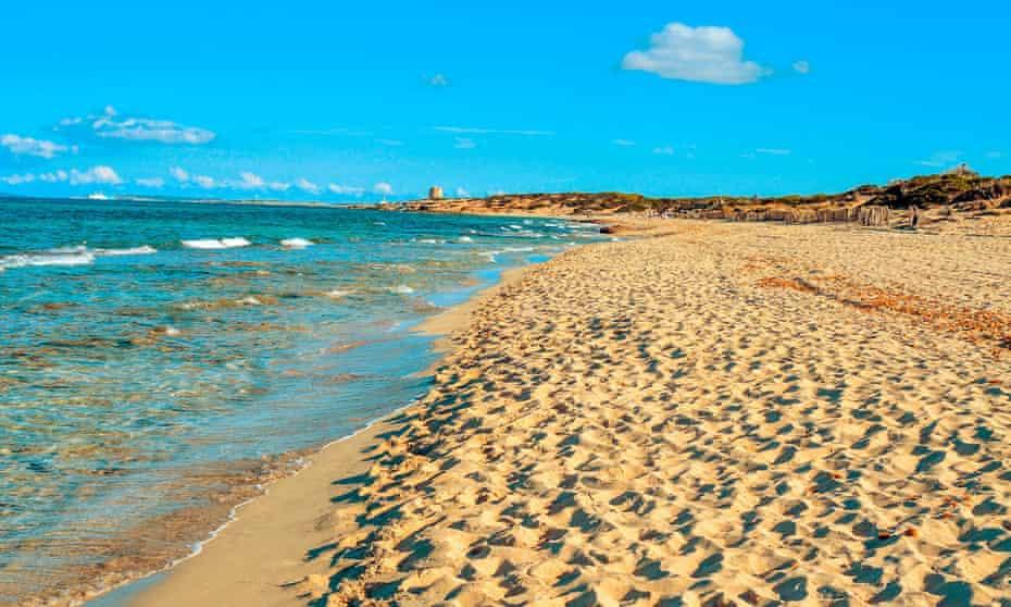 Es Cavallet beach, Ibiza, home to El Chiringuito beach bar.