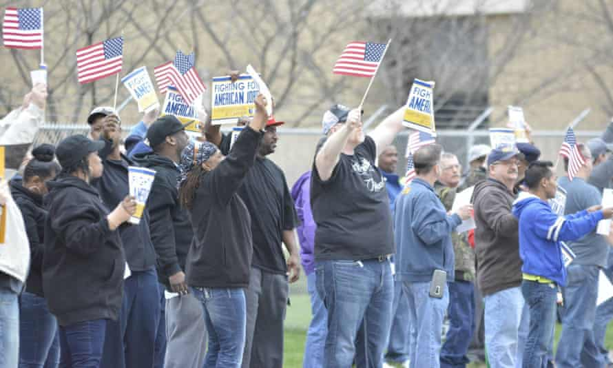 United steel workers from Local 1999 rally to protest the closure of their factory in Indianapolis. United technologies who own the carrier plant are moving production to Mexico. March 2016