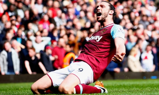 Carroll celebrating his three goals in this fixture last season