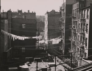 Tenements and Graveyard from Chataham Square El Station, New York, 1946