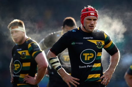 Christian Day takes a breather during Northampton's hard-fought victory over Castres.