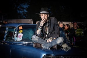 Johnny Depp's style – ripped jeans, beads, eyeliner, hat – works for Glastonbury. He attended the festival in 2017 to launch his film The Libertine.