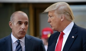 Matt Lauer speaks with then Republican presidential candidate Donald Trump during an appearance on the Today Show in April 2016.