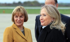 Vesna Pusić, left, welcomes Hillary Clinton to Zagreb airport in October 2012.